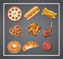 Conjunto de comida deliciosa vetor