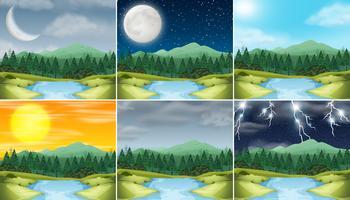 Conjunto de natureza paisagem clima diferente vetor