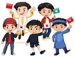 Meninos felizes segurando a bandeira de diferentes países vetor