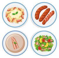 Comida italiana em placas redondas vetor