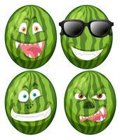 Conjunto de rostos de melancia vetor