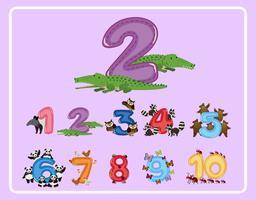 Número de contagem e outros números com animais vetor