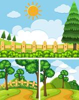 Três cenas com campos e trilhas vetor