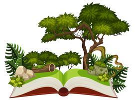 Cena da selva em um livro pop up vetor