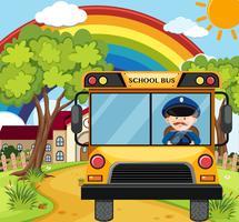 Motorista de ônibus dirigindo ônibus escolar na estrada vetor
