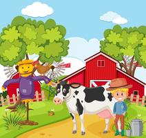 Agricultor ordenhando a vaca vetor