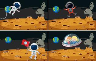 Quatro cenas espaciais com astronautas voando vetor