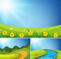 Três cenas de jardim no dia vetor