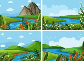 Quatro cenas de rio e campo vetor