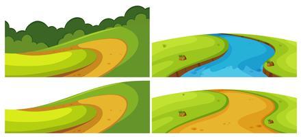 Estradas diferentes e rio no campo vetor