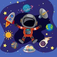 Astronauta e nave espacial no espaço vetor