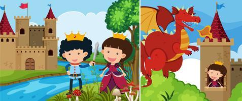 Duas cenas de conto de fadas com a princesa na torre vetor