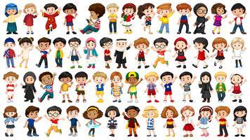 Conjunto de caractere multicultural vetor