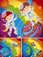 Astronautas voando no céu de arco-íris vetor