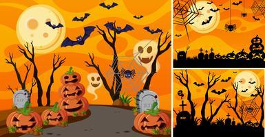 Fundo de três com a noite de halloween e jack-o-lanternas vetor
