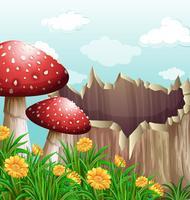 Cena da natureza com cogumelo e log vetor