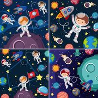 Cenas espaciais com astronautas e planetas vetor