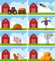 Diferentes animais de fazenda e coisas na fazenda vetor
