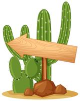 Sinal de madeira na planta do cacto
