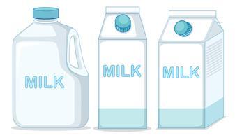Conjunto de leite no fundo ehite vetor