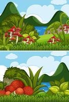 Duas cenas do rio com cogumelos no jardim vetor