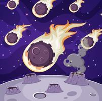 Muitos cometas no espaço escuro vetor