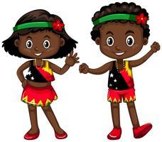 Menino e menina da Papua Nova Guiné vetor