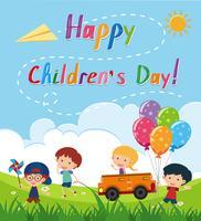 Cartaz de dia das crianças felizes com crianças no parque vetor