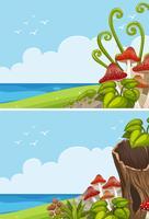 Duas cenas do oceano com cogumelo no campo vetor