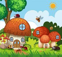 Muitos, insetos, voando, ao redor, cogumelo, casa, em, jardim vetor