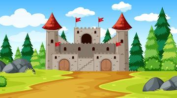 Um, fantasia, castelo, fundo vetor