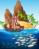 Cena, pirata, navio, peixe, mar vetor
