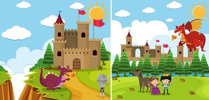 Duas cenas de fundo com dragão e cavaleiro vetor