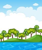 Cena da natureza com árvores e céu azul vetor