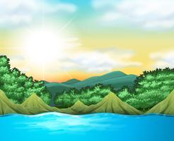 Cena da natureza com árvores e lago vetor