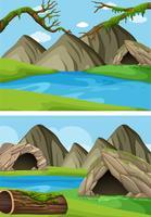 Duas cenas de fundo com montanhas e rios vetor