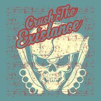 crânio de vintage de estilo grunge usando o vetor de desenho de mão de chapéu