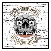 texto e crânio de grunge de estilo grunge manter vetor de desenho de mão de fé