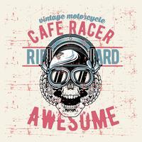crânio de estilo grunge vintage café racer mão desenho vetorial