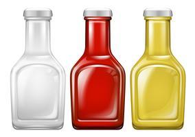 Conjunto de garrafa de molho vetor