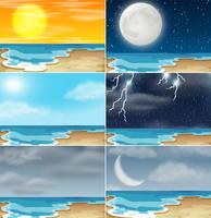 Conjunto de clima diferente de praia vetor