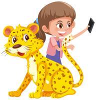 Uma garota selfie com tigre vetor
