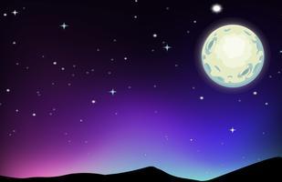 Cena noturna com lua e estrelas vetor