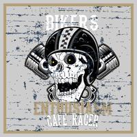crânio de estilo grunge vintage usando o vetor de desenho de mão de capacete