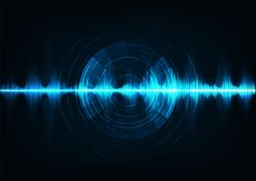 Ondas sonoras de música azul. Tecnologia de áudio, pulso musical.