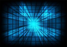 Ferragem de incandescência azul com partículas, fundo abstrato gerado por computador.