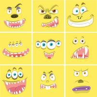 Conjunto de rostos de monstro amarelo vetor
