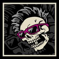 Crânio de hipster com penteado, bigode e barba. Etiqueta do vintage. Projeto das impressões para t-shirt vetor