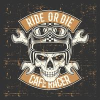 crânio de estilo grunge vintage usando capacete e passeio de texto ou morrer vetor