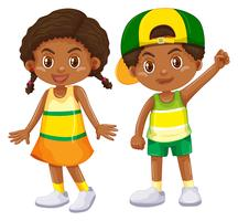 Menino americano africano, e, menina vetor
